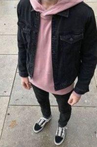 ροζ φουτερ με ντένιμ