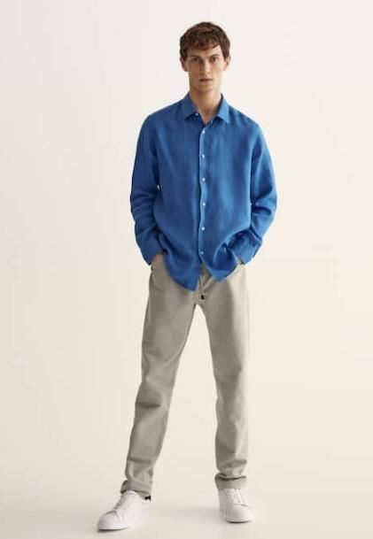ανοιχτόχρωμο παντελόνι γαλάζιο πουκάμισο
