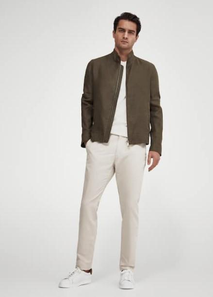 άσπρο παντελόνι χακί jacket