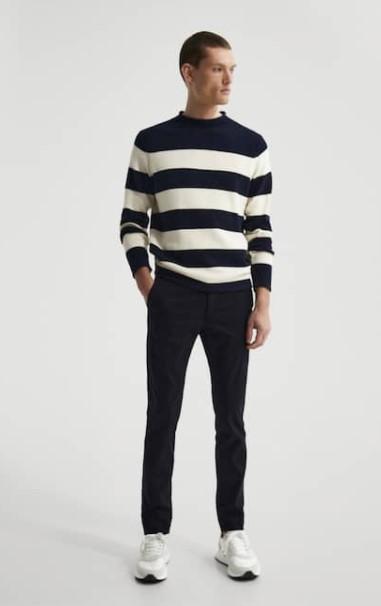 chino παντελόνι ριγέ μπλούζα