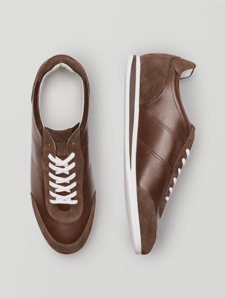 καφέ δερμάτινα sneakers