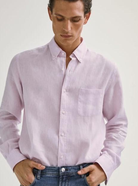 λινό ροζ πουκάμισο