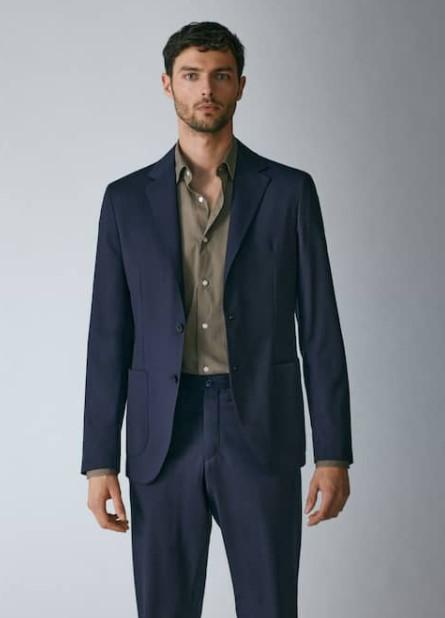 μπλε κοστούμι Massimo Dutti καλοκαίρι 2021