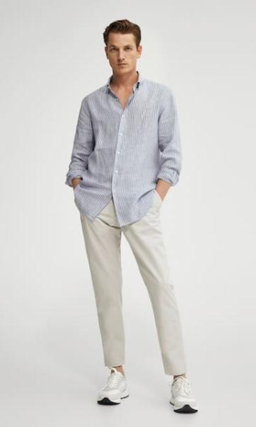 ριγέ πουκάμισο άσπρο παντελόνι Massimo Dutti καλοκαίρι 2021