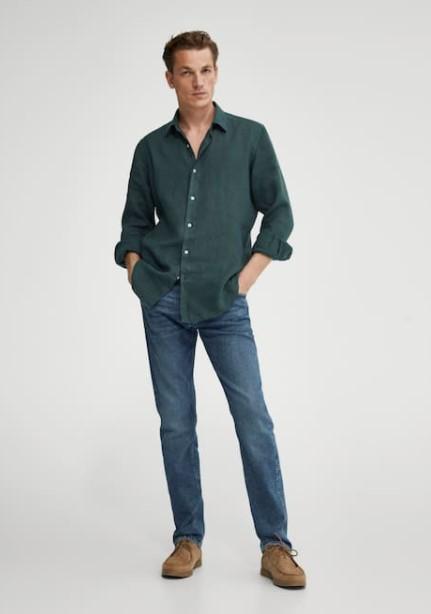 τζιν πράσινο πουκάμισο Massimo Dutti καλοκαίρι 2021