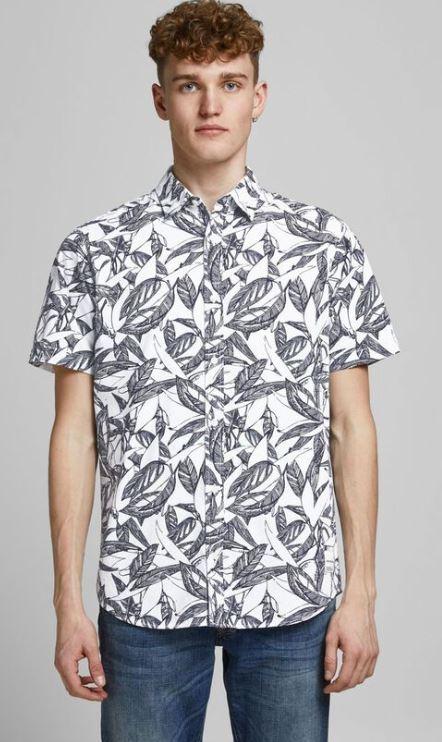 ασπρο πουκαμισο με φυλλα