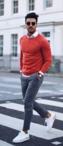 γκρι παντελονι κοκκινο πουκαμισο