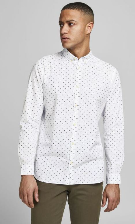 λευκο πουκαμισο με σχεδια