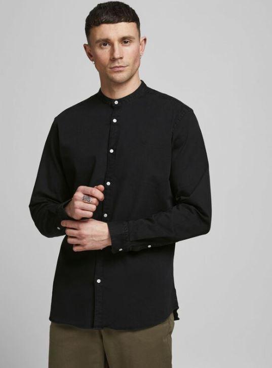 μαυρο πουκαμισο με ψηλο γιακα