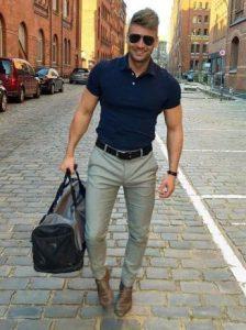 πολο μπλουζακι με γκρι παντελόνι