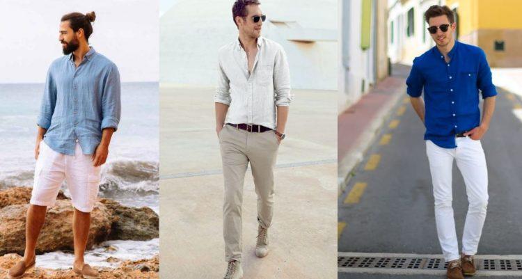 outfits με λινό πουκάμισο
