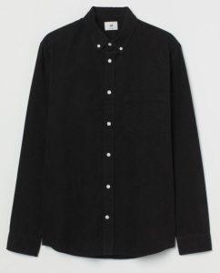 κοτλέ μαύρο πουκάμισο